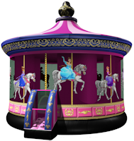 bounce house inflatable moonwalk Princess Carousel Party Tyme Rentals party time Poway></p>Our Princess Carousel&nbsp;bounce house features detailed digital printing and a timeless theme that kids will love.&nbsp;</p><p>This unit uses an exclusive Vertical Safety Support device (U.S. Patent  #7,108,608 B2), a special inflation cylinder that actually supports the  roof of the inflatable in the event of a power loss.&nbsp;</p><p><strong style=